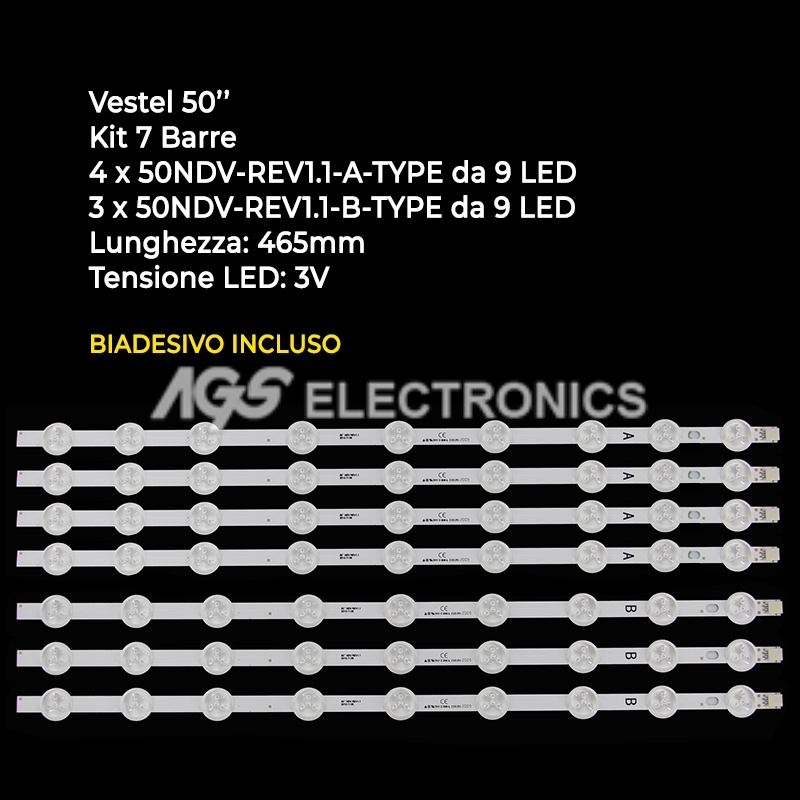 KIT 7 BARRE STRIP LED TV VESTEL 23283027 VES500UNDL3DN01 TX50A300B 50HYT62U