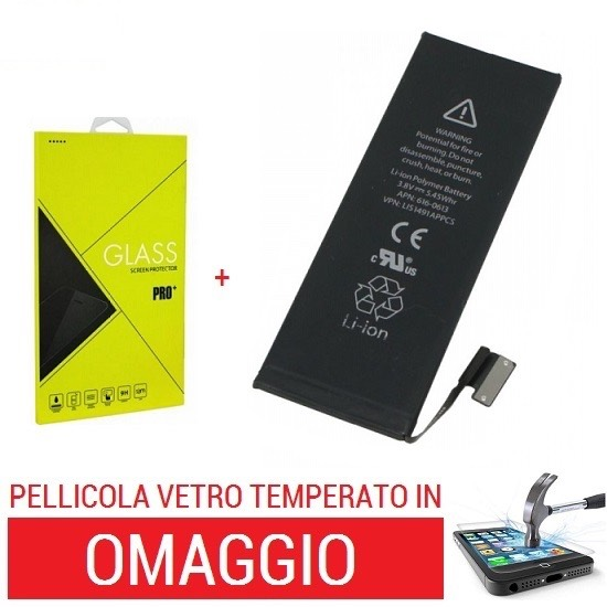 BATTERIA APPLE IPHONE 5C 1510 MAH +PELLICOLA TEMPERATA
