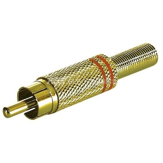 Spinotto RCA metallico con protezione del cavo colore Rosso CC-010R