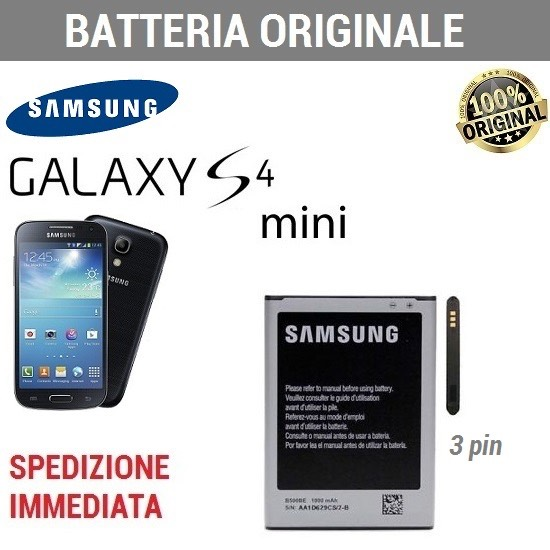 Batteria ORIGINALE SAMSUNG 1900mAh EB-B500BE per Galaxy S4 MINI i9190 I9195