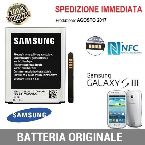 BATTERIA ORIGINALE SAMSUNG EBL1G6 S3  SIII EB-L1G6LLU 2100mAh NFC i9301 NUOVA