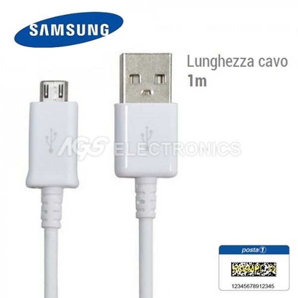 Cavo Dati Originale Samsung ECB-DU4AWE Micro USB per S7 S6 S5 S4 S3 NOTE Bianco