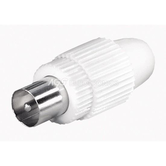 3 x Connettore per antenna COAX plastica maschio 9.5mm Bianco COAX 001 (3 pezzi)