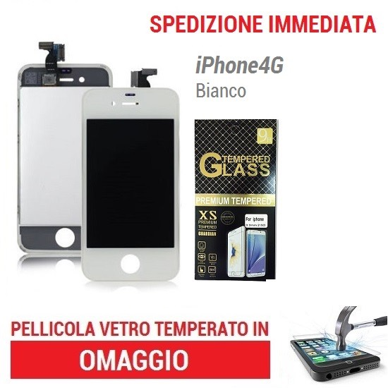 TOUCH SCREEN LCD Display SCHERMO BIANCO per Apple IPHONE 4 + FRAME