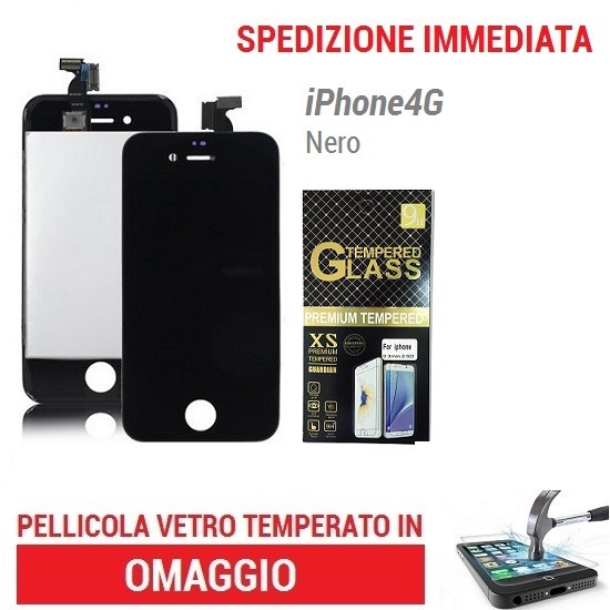 TOUCH SCREEN VETRO SCHERMO NERO per Apple Iphone 4 LCD Display Retina +Frame