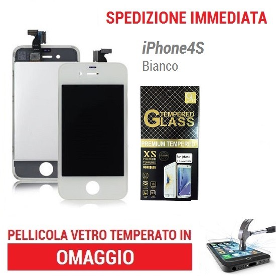 TOUCH SCREEN DISPLAY SCHERMO VETRO per APPLE IPHONE 4S BIANCO - LCD RETINA FRAME