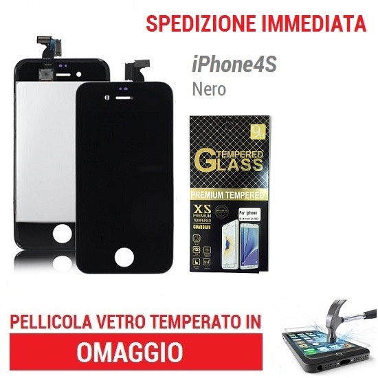 TOUCH SCREEN   LCD DISPLAY RETINA   FRAME PER IPHONE 4S NERO VETRO SCHERMO