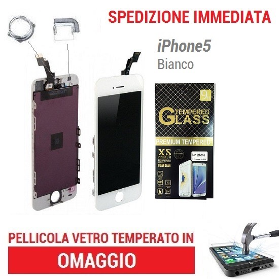 TOUCH SCREEN VETRO SCHERMO per IPHONE 5 BIANCO +LCD DISPLAY RETINA + FRAME