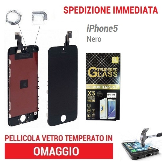 TOUCH SCREEN VETRO SCHERMO NERO PER APPLE IPHONE 5 LCD DISPLAY RETINA CON FRAME