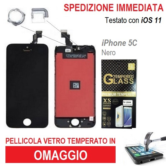 TOUCH SCREEN VETRO SCHERMO PER APPLE IPHONE 5C NERO  LCD DISPLAY RETINA + FRAME