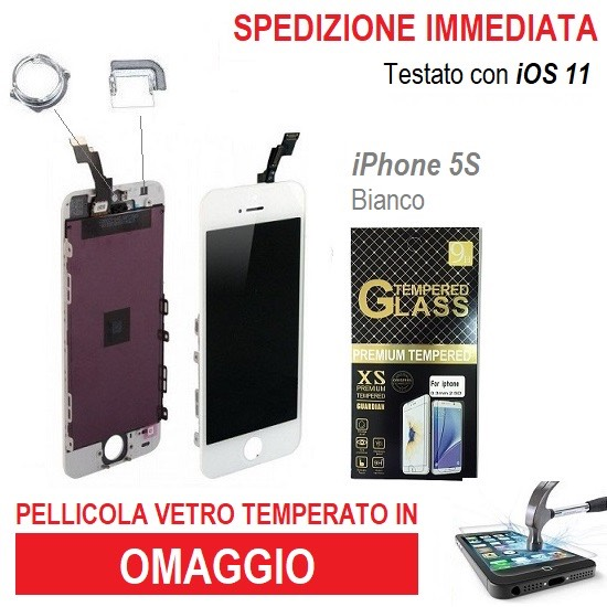 TOUCH SCREEN VETRO SCHERMO per IPHONE 5S BIANCO + LCD Display RETINA +FRAME