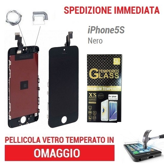 TOUCH SCREEN VETRO SCHERMO NERO per APPLE IPHONE 5S - LCD DISPLAY RETINA+FRAME