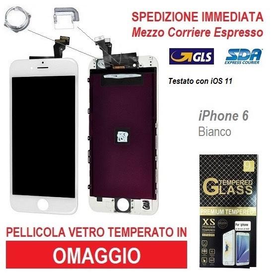 TOUCH SCREEN FRAME VETRO LCD DISPLAY RETINA SCHERMO PER APPLE IPHONE 6 BIANCO 6G