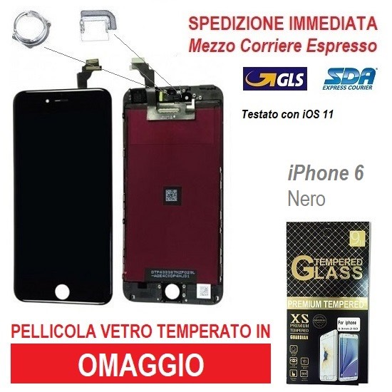 TOUCH SCREEN FRAME VETRO LCD DISPLAY RETINA SCHERMO PER APPLE IPHONE 6 NERO