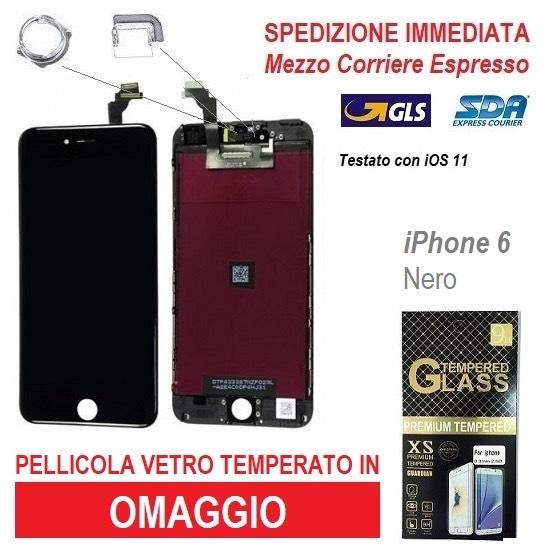 TOUCH SCREEN FRAME VETRO LCD DISPLAY RETINA SCHERMO PER APPLE IPHONE 6 6G NERO