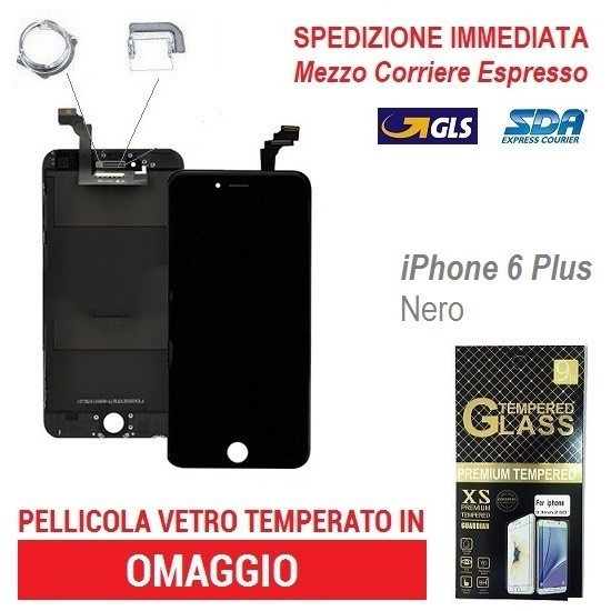 TOUCH SCREEN FRAME LCD DISPLAY RETINA SCHERMO PER APPLE IPHONE 6 PLUS NERO