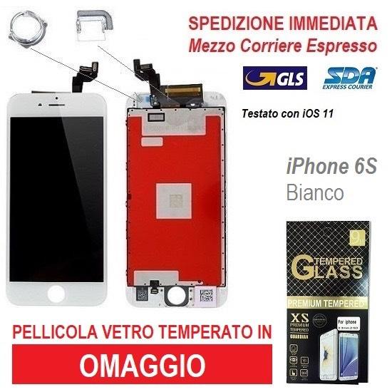 TOUCH SCREEN LCD RETINA DISPLAY FRAME PER APPLE IPHONE 6S BIANCO VETRO SCHERMO