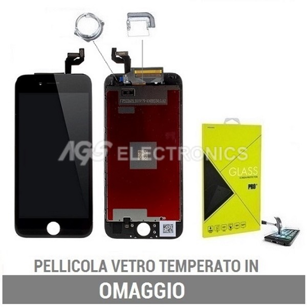 TOUCH SCREEN LCD RETINA DISPLAY FRAME PER APPLE IPHONE 6S NERO VETRO SCHERMO