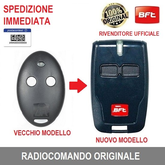 TELECOMANDO BFT D111904 RADIOCOMANDO ORIGINALE MITTO B RCB 2 CANALI 12V 433,92