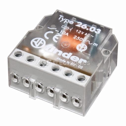 Relè meccanico 220Vca 2Ctos. 10A 39.6x22.0x46.6mm