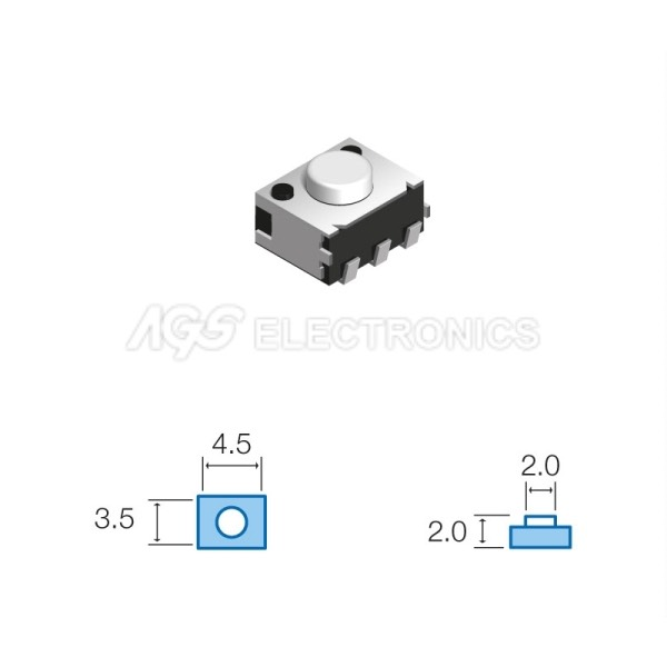 Tact Switchs SMD 3.5 x 4.5mm, altezza totale 2.0mm TSW034 TSW-034