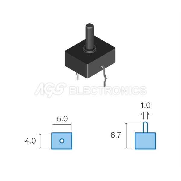 Tact Switchs micro 4.0 x 5.0mm, altezza totale 6.7mm TSW042 TSW-042