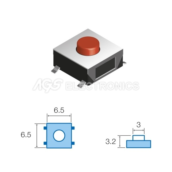 Tact Switchs SMD 6.5 x 6.5mm, altezza totale 3.2mm TSW044 TSW-044