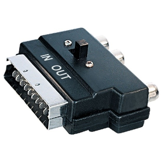 Adattatore Scart con 3 RCA SVHS e interruttore IN-OUT AGS18245