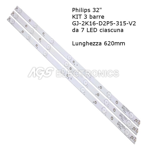 KIT 3 BARRE STRIP LED TV PHILIPS 32PFS4132 32PHH4101 GJ-2K16-D2P5-315-D307-V2