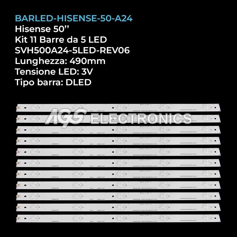 KIT 11 BARRE STRIP LED TV HISENSE SVH500A24-5LED-REV06 LTDN50D LTDN50K